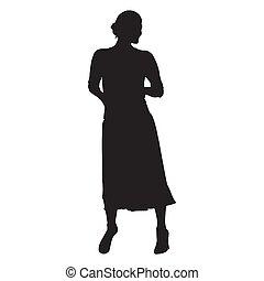 スカート, 女 シルエット, 隔離された, 長い間, ベクトル, pockets., 手, standing.