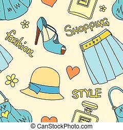 スカート, 帽子, びん, パターン, seamless, ハンドバッグ, はき物, 心, 花, 香水