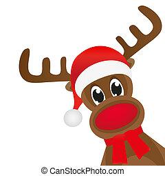 スカーフ, 鹿, クリスマス, 赤, wavin