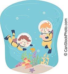 スキューバ, 子供, 探検しなさい, メモ, イラスト, 水中