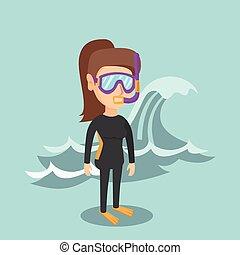 スキューバ, 若い, コーカサス人, suit., ダイビング, ダイバー