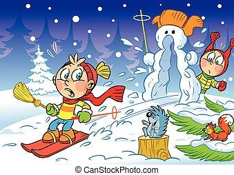 スキーをする, 冬, 子供