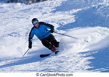 スキーヤー, ある, 彫刻, 下方に, ∥, 丘