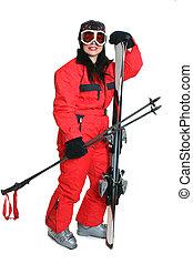 スキーヤー, スキー, 赤, 女性, スーツ