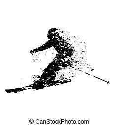 スキーヤー, 隔離された, ベクトル, スキー, シルエット, 下り坂に
