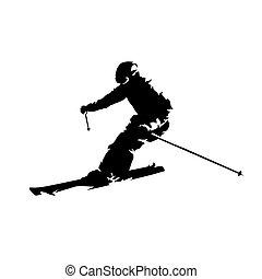 スキーヤー, 隔離された, silhouette., ベクトル, スキーの下り坂