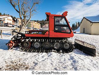 スキー, スノーモービル, 端, 駐車される, slope.