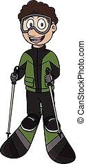 スキー, スポーツ, -, 漫画, イラスト