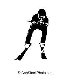 スキー, 抽象的, ベクトル, シルエット, 下り坂に
