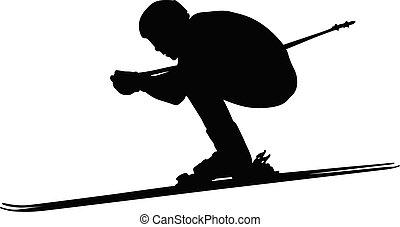 スキー, 運動選手, 人, 下り坂の スキーヤー