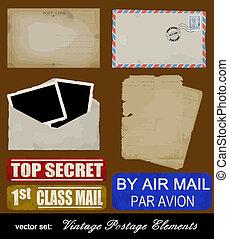 スクラップブック, セット, の, 古い, 郵送料, 要素を設計しなさい