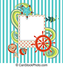 スクラップブック, フレーム, 海洋, 写真