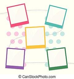 スクラップブック, 子供, ページ, カラフルである, テンプレート