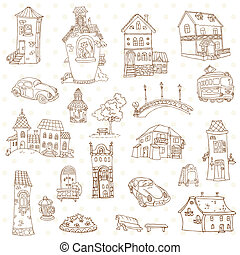 スクラップブック, 要素を設計しなさい, -, 小さい 町, doodles, -, 中に, ベクトル