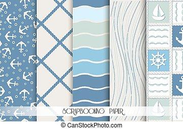 スクラップブック, patterns., 青, 海, セット, elements., デザイン, 白