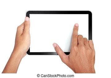 スクリーン, つまむこと, 指, tablet's, ズームレンズ