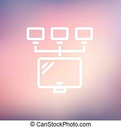 スクリーン, ∥で∥, cameras, 薄いライン, アイコン