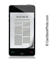 スクリーン, イラスト, 電話, 感触, ニュース, 読書