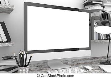 スクリーン, オフィス, イラスト, pc, ワークスペース, テーブル, 3d