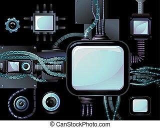 スクリーン, デザイン, cyberpunk