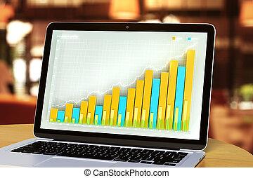 スクリーン, ラップトップ, ビジネス, チャート
