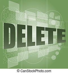 スクリーン, 削除, 単語, デジタル
