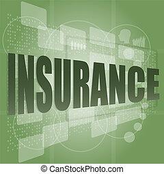 スクリーン, 単語, 保険, デジタル