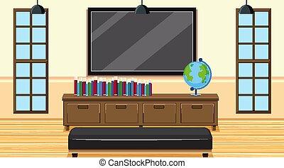 スクリーン, 大きい, 本, 部屋, 現場, tv