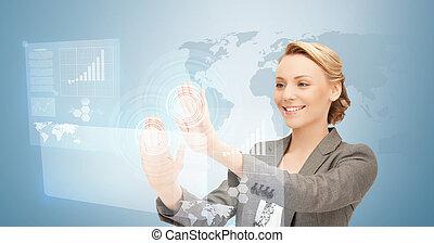 スクリーン, 女性実業家, 仕事, 事実上