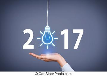 スクリーン, 年, 考え, 手, 感動的である, 人間, 概念, 新しい, 2017