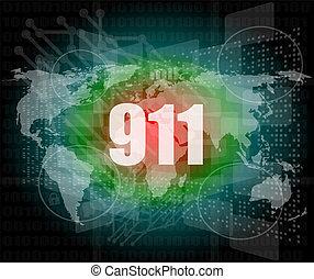 スクリーン, 感触, 言葉, デジタル, インターフェイス, 911
