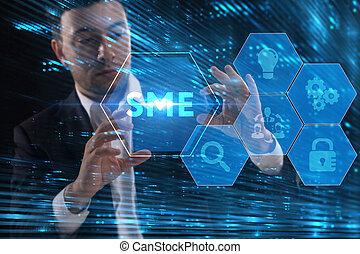 スクリーン, 未来, inscription:, ネットワーク, 仕事, 見る, ビジネスマン, ビジネス, sme, ...