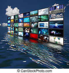 スクリーン, 水, 多数, 反映された
