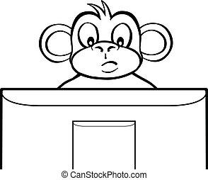 スクリーン, 白, 黒, サル, の後ろ