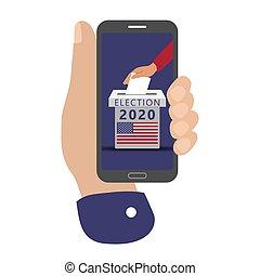 スクリーン, 箱, icon., 投票, 旗, 手, 投票, 平ら, 概念, 投票, アメリカ, パッティング, smartphone, ブレティン, electroning