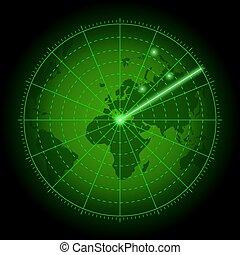 スクリーン, 緑, 世界, map., レーダー