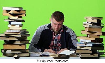 スクリーン, 読む, ノート, 緑, itself., 人, データ, 書く