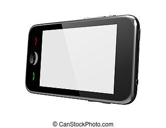 スクリーン, 電話, 感触, 白, サイド光景