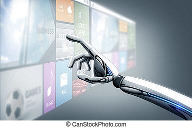 スクリーン, apps, ロボット, 事実上, 手, 感動的である
