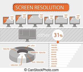 スクリーン, infographics, 決断, モニター, lcd