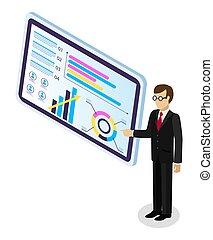 スクリーン, mnager, ビジネスマン, モニタリング, タブレット, 分析的, 大きい, ポイント, チームワーク, ∥あるいは∥, data.