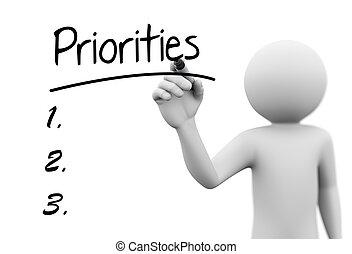 スクリーン, priorities, 執筆, 人, 透明, 3d