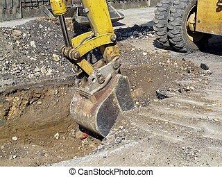 スクレーパー, 働くため, ∥, そっくりそのまま, の, a, ロードワーク, の間, 発掘