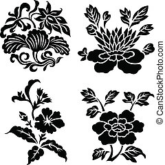 スクロール, 装飾用である, 花