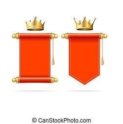 スクロール, 詳しい, 3d, 赤, set., 王冠, 現実的, 金, ベクトル