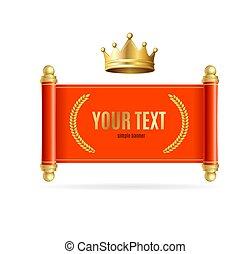 スクロール, 詳しい, 3d, banner., 赤, 王冠, 現実的, 金, ベクトル