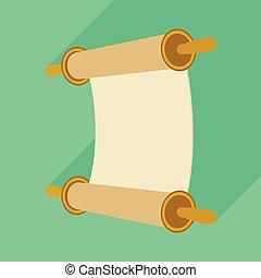 スクロール, stock., アイコン, グラフィック, ベクトル, 聖書, デザイン, logo., 羊皮紙