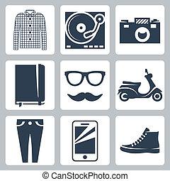スクーター, 口ひげ, ワイシャツ, アイコン, ガラス, パッド, プレーヤー, 執筆, レコード, ベクトル, 情報通, カメラ, スニーカー, 情報, smartphone, 点検, set:, ジーンズ