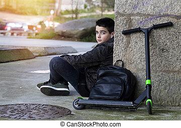スクーター, 通り, 遊び, 子供