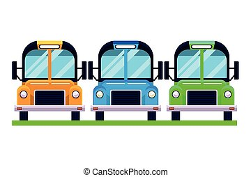 スクールバス, 隔離された, vehciles, 駐車される, 正面図